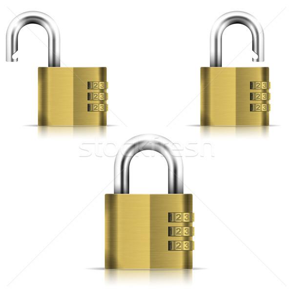 Latão abrir fechado isolado cadeado eps10 Foto stock © TarikVision