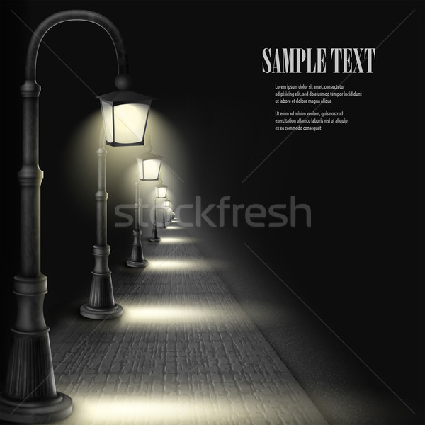 Lamps Along Paving Block Street. Stock photo © TarikVision