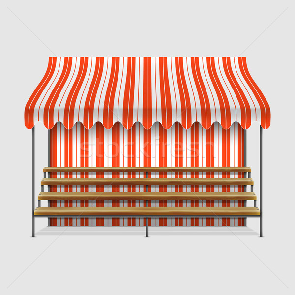 Stock photo: Market Stall With Wooden Shelves.