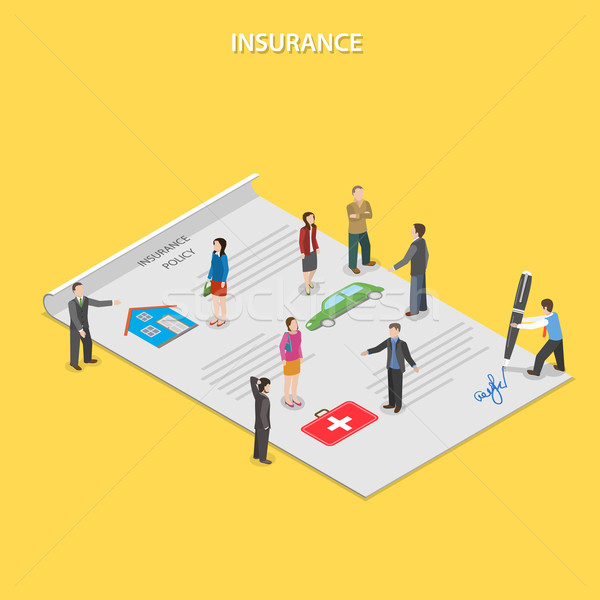 Insurance policy flat isometric vector concept.  Stock photo © TarikVision