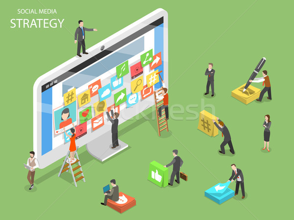 Social media strategy flat isometric vector. Stock photo © TarikVision