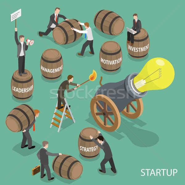 Startup flat isometric low poly vector concept Stock photo © TarikVision