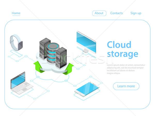 Felhő raktár izometrikus vektor online nagy Stock fotó © TarikVision