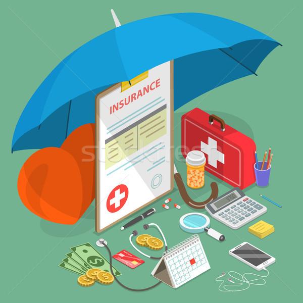 Health insurance flat isometric vector concept illustration. Stock photo © TarikVision