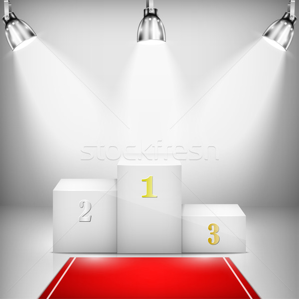 Illuminated Winner Pedestal With Red Carpet Stock photo © TarikVision