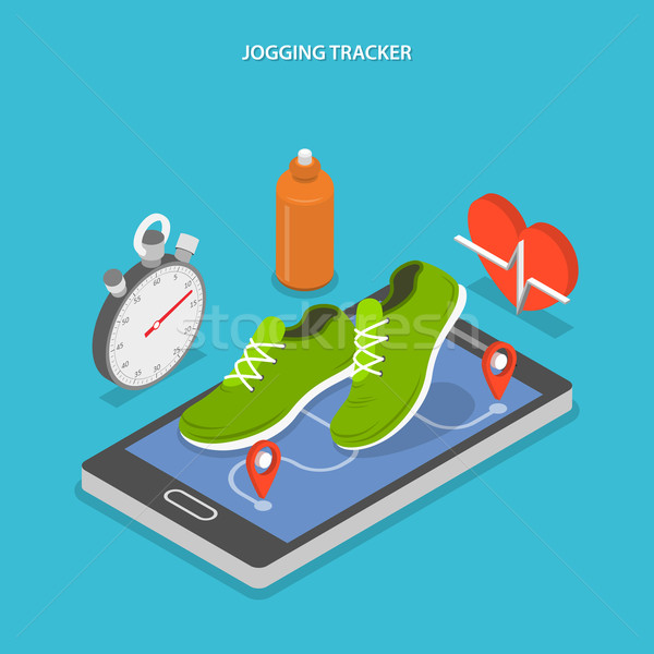 Jogging and running flat isometric concept.  Stock photo © TarikVision