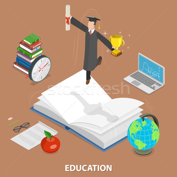 Education flat isometric low poly vector concept Stock photo © TarikVision