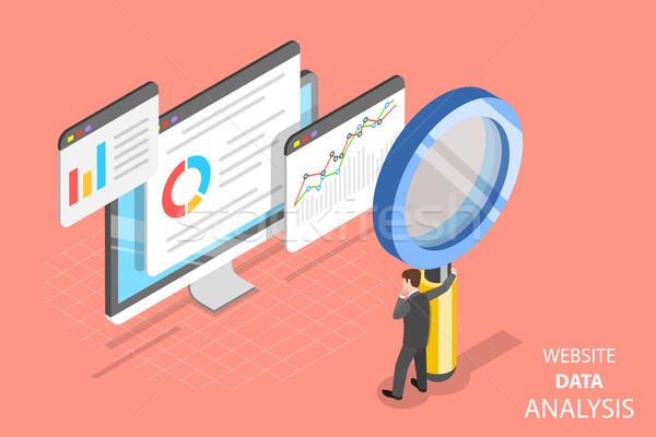 Website gegevens analyse isometrische vector web Stockfoto © TarikVision