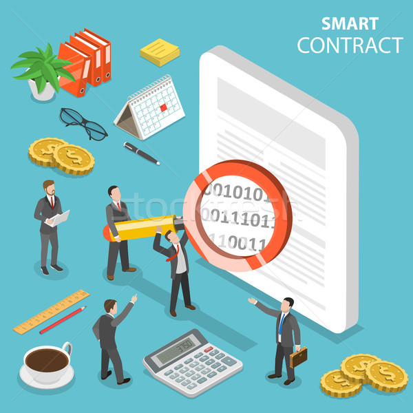 Smart contract flat isometric vector concept. Stock photo © TarikVision
