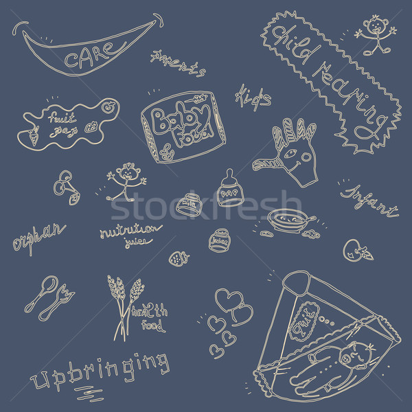 Childcare Doodle Icon Set On Blue. Stock photo © TarikVision
