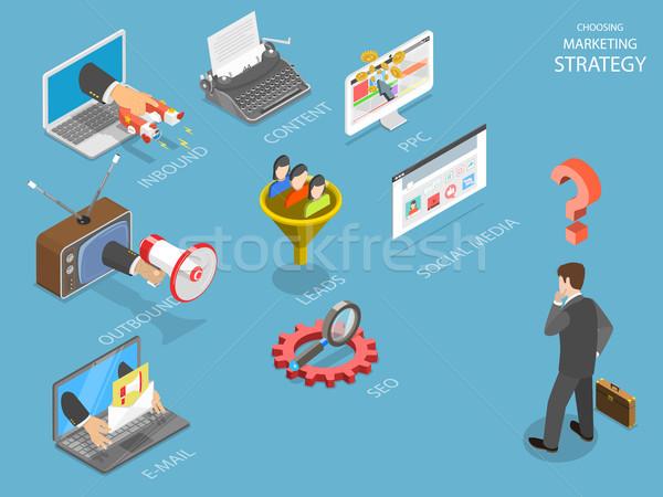 Stockfoto: Kiezen · strategie · isometrische · vector · zakenman · denken