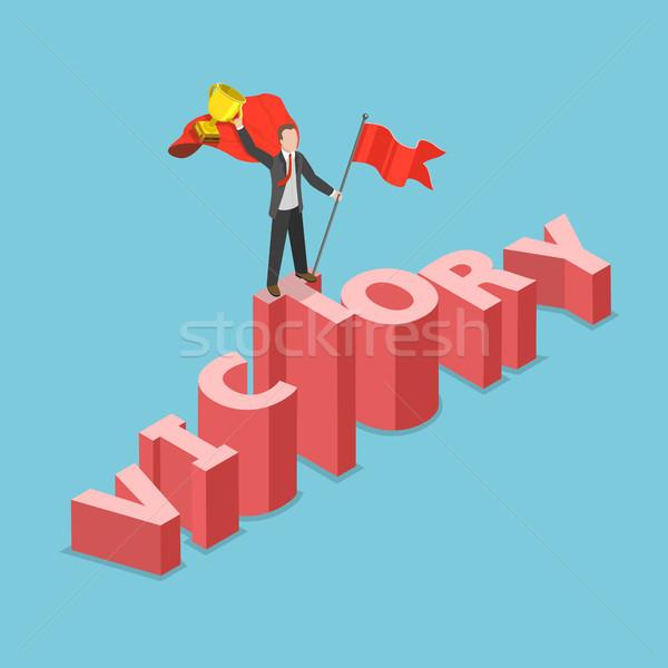 Overwinning isometrische vector zakenman mantel Stockfoto © TarikVision