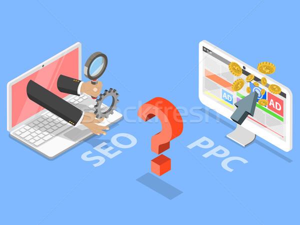 Stockfoto: Seo · vs · ppc · isometrische · vector · vergelijking