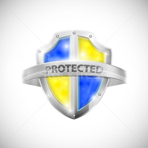 Foto d'archivio: Protezione · icona · lucido · scudo · design · metal