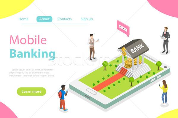 On-line bancário isométrica vetor móvel pagamento Foto stock © TarikVision