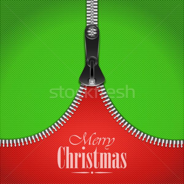 Knitted Christmas Background With Iron Zip. Stock photo © TarikVision