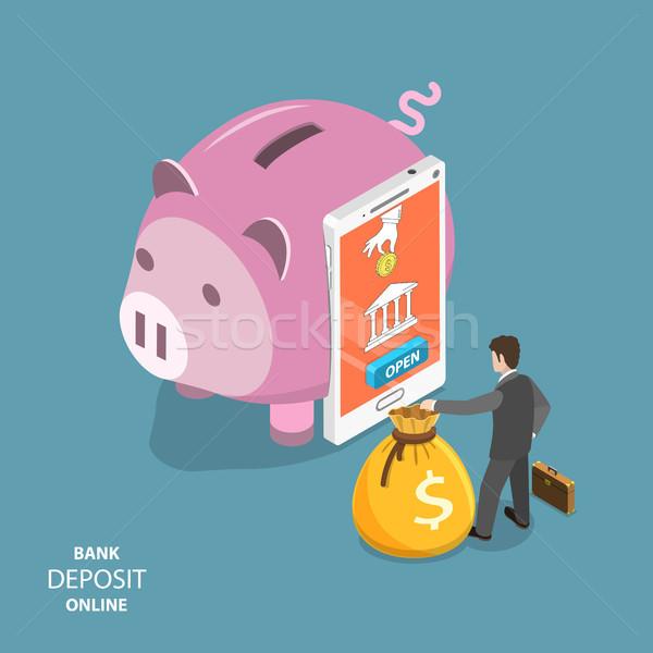 Foto stock: On-line · banco · depósito · isométrica · vetor