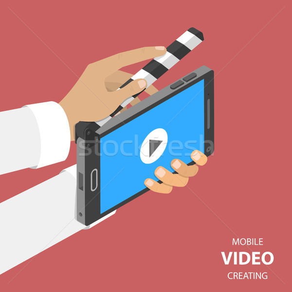 Stock photo: Mobile video creating flat isometric vector.