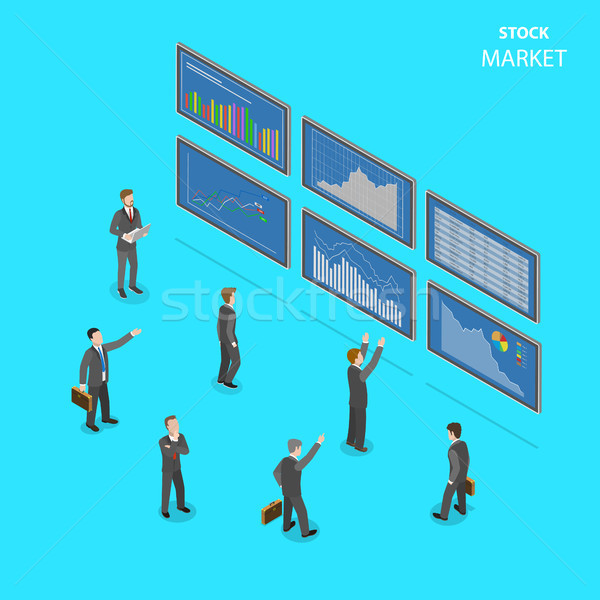 Aktienmarkt Vektor Menschen Anzüge stehen Stock foto © TarikVision