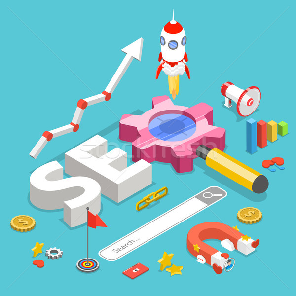 SEO flat isometric vector concept. Stock photo © TarikVision