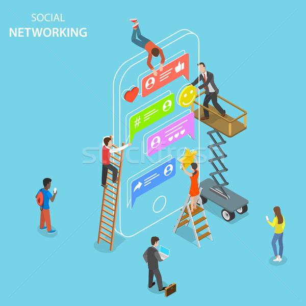 Sociale netwerken isometrische vector social media Stockfoto © TarikVision