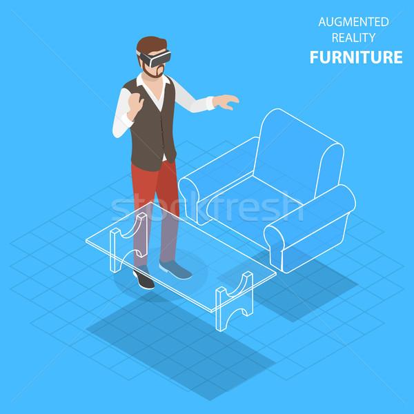 Realiteit meubels isometrische vector virtueel telefoon Stockfoto © TarikVision