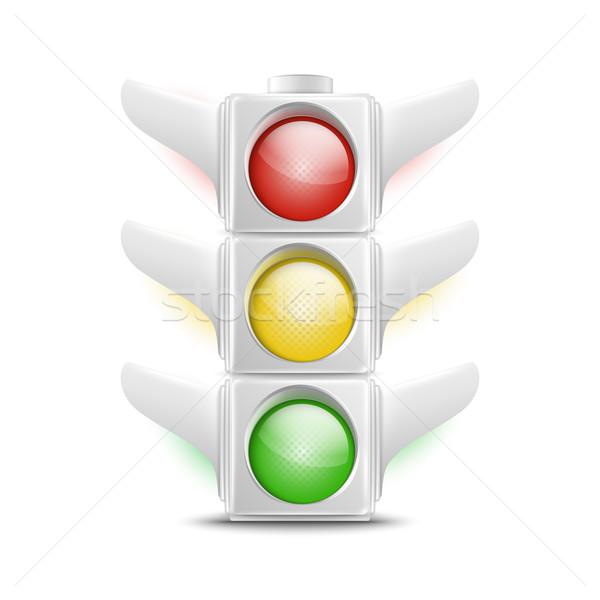 Gerçekçi beyaz trafik ışıkları ikon vektör eps10 Stok fotoğraf © TarikVision