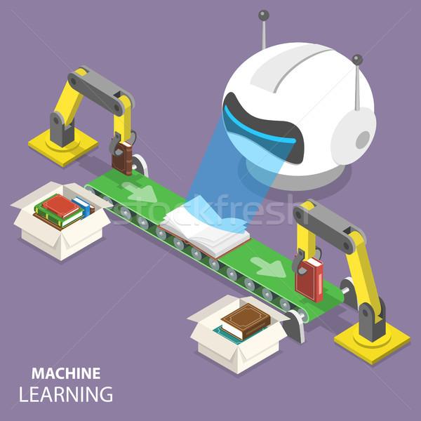 マシン 学習 アイソメトリック ベクトル ロボット 頭 ストックフォト © TarikVision