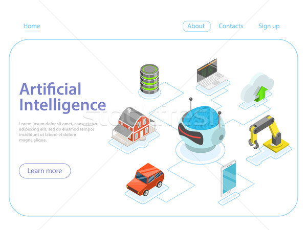 Artificial intelligence flat isometric vector concept. Stock photo © TarikVision