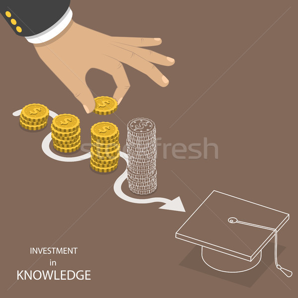 Investering kennis isometrische vector hand munt Stockfoto © TarikVision