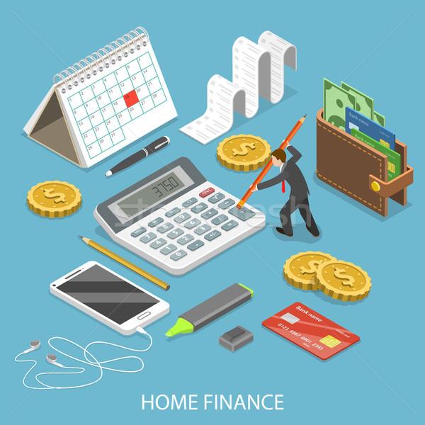 Személyes otthon pénzügy izometrikus vektor férfi Stock fotó © TarikVision