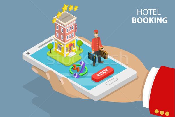 Online hotel Zoek isometrische vector Stockfoto © TarikVision