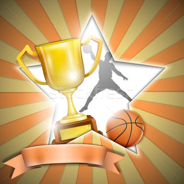 Koszykówki plakat trofeum kubek tekstury sportu Zdjęcia stock © TarikVision