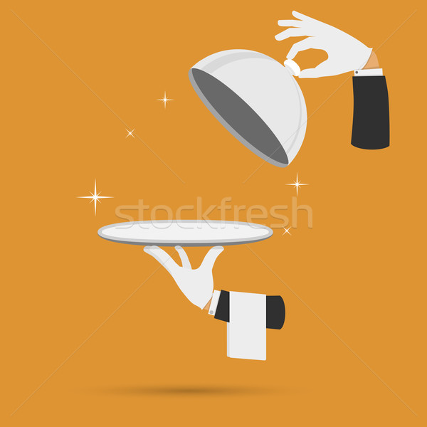 Hands with cloche lid cover and towel vector. Stock photo © TarikVision