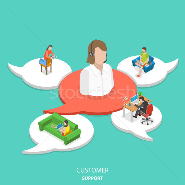 Customer support flat isometric vector concept. Stock photo © TarikVision