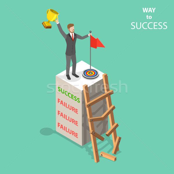 Maneira sucesso isométrica vetor homem para cima Foto stock © TarikVision