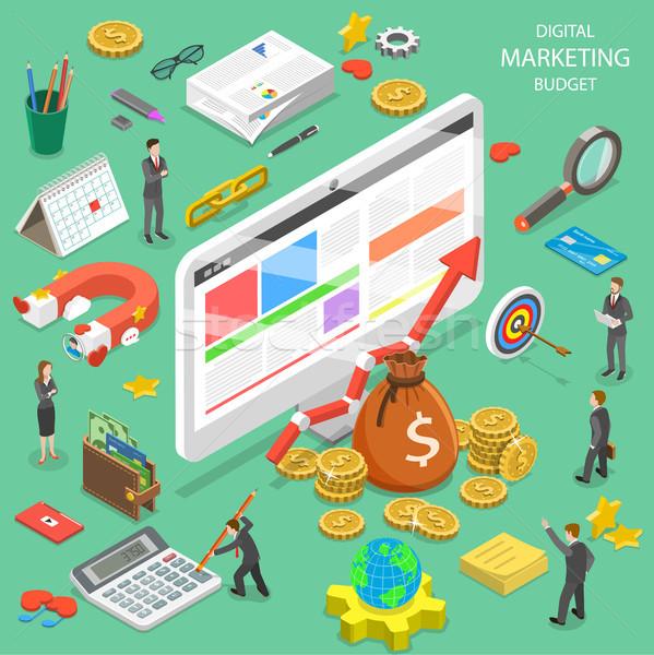 Digital marketing budget flat isometric vector. Stock photo © TarikVision
