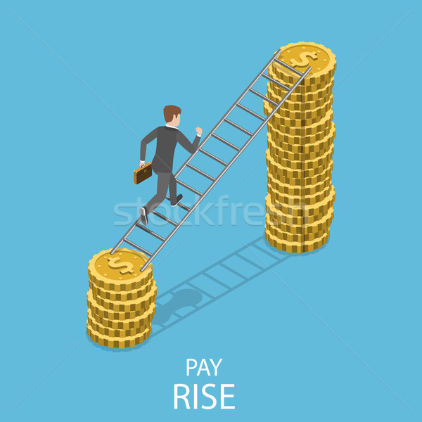 Pay rise flat isometric vector concept. Stock photo © TarikVision