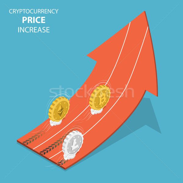 Stock photo: Cryptocurrency price increase isometric vector.