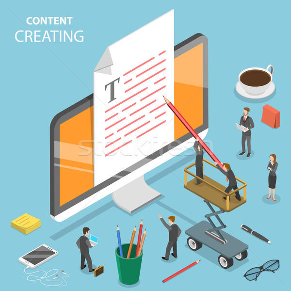 Content creating flat isometric vector concept. Stock photo © TarikVision