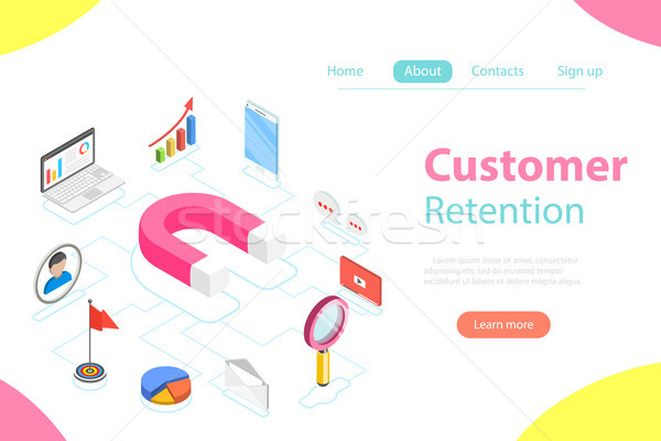 Customer retention strategy flat isometric vector. Stock photo © TarikVision