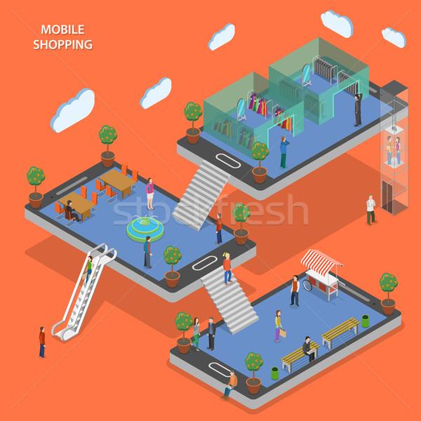 携帯 ショッピング アイソメトリック ベクトル 人 徒歩 ストックフォト © TarikVision