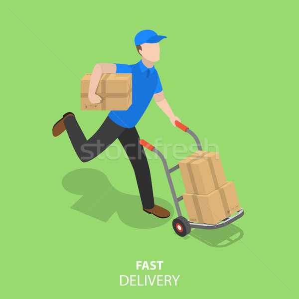 Happy courier flat isometric vector concept. Stock photo © TarikVision