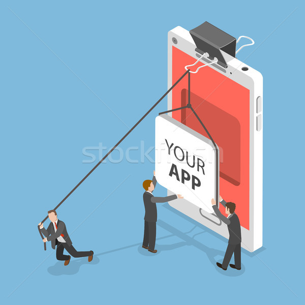 Your app flat isometric vector concept. Stock photo © TarikVision