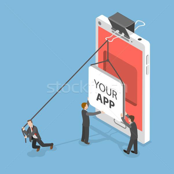 App isométrique vecteur personnes icône mobiles Photo stock © TarikVision