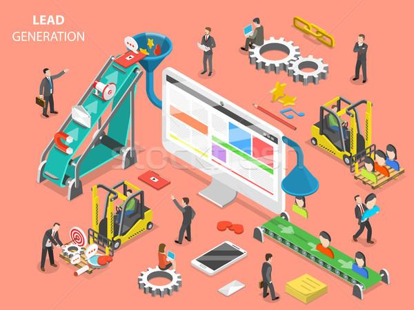 Geração isométrica vetor pessoas digital marketing Foto stock © TarikVision