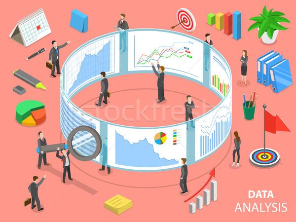 Data analysis flat isometric vector concept. Stock photo © TarikVision