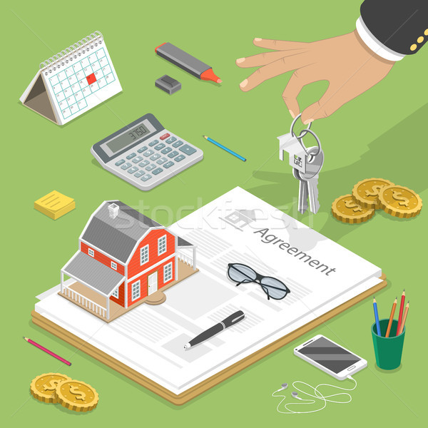 House buying flat isometric vector concept. Stock photo © TarikVision