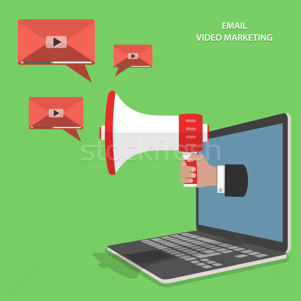 Video e-mail marketing isometrische vector hand Stockfoto © TarikVision