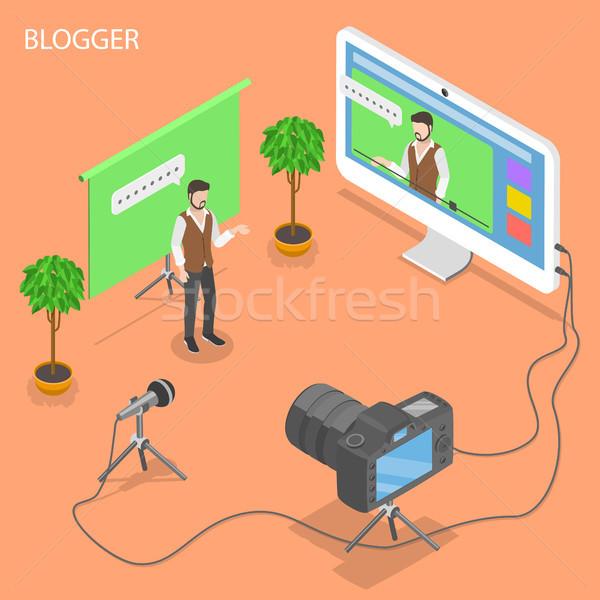 Blogger izometryczny wektora młody człowiek wideo blog Zdjęcia stock © TarikVision